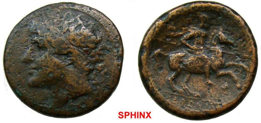 Ancient Coins - 501RC9X) SICILY, Syracuse. Hieron II. 275-215 BC. Æ Hemilitron (27.5 mm, 17.82 g). Struck circa 230-218/5 BC. Diademed head left /  Horseman riding right, holding spear;