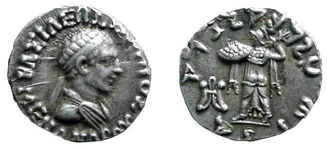 Ancient Coins - 653ER) Bactria Menander, 155-130 BC; AR Drachm 2.48grms  DIADEMED BUST OF KING RIGHT; Rv., Athena Alkidemos; monogram Karosthi inscript. REV. TO LEFT MONOGRAM OF MINT OF BAMIAN; MI