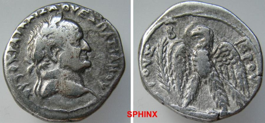 Ancient Coins - 930LR7X) Seleucis and Pieria. Antioch. Vespasian. 69-79 AD. AR Tetradrachm (27 mm, 14.54 gm). Dated year 2 (69/70 AD). AUTOKRAT KAISA OUESPASIANIOU, laureate head right / VF