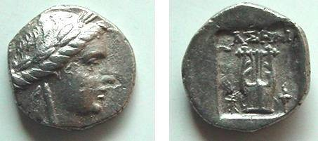 Ancient Coins - 444GREEK) LYCIAN LEAGUE; Phaselis in Lycia Drachm 2.60 g spec.gravity:10.2;  168 BC ff. Head of Apollo right with two braids at neck Rv., lyre between symbols (winged fulmen and to