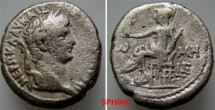 Ancient Coins - 601LL1) EGYPT, Alexandria. Nero. AD 54-68. BI Tetradrachm (23 X 25 mm, 13.08 grms). Dated RY 5 (AD 59/60). Laureate head right / Roma seated left on low throne,    VF