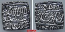 World Coins - 267FF7X) MUGHAL: Akbar I, 1556-1605 AD, Square rupee, 11.39 grms, 18 x 18 mm, mint of UJJAIN DATED 994 AH, type KM-82, in superb XF condition;