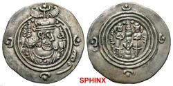 Ancient Coins - 410FC19) . Sasanian Kingdom. Khusru II. A.D. 591-628. AR drachm (30 mm, 4.06 g, 4 h). SHY (Shiz), RY 26. Bust of Khusru II right, wearing mural crown with frontal crescent