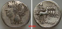 Ancient Coins - 571CCE0Z) L. Appuleius Saturninus. 104 BC. AR Denarius (19.5 mm, 3.91 gm). Helmeted head of Roma left / Saturn, holding sickle, driving quadriga right; V below. Crawford 317/3b; Sy
