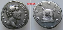 Ancient Coins - 28HM0) Antoninus Pius, 138-161, AR Denarius, 19 mm, 3.81 grms, after 161 AD, Obv. Head right DIVVS ANTONINVS / Rev. DIVO PIO Altar. RIC 441, VF. Toned.  62