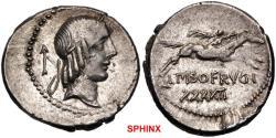 Ancient Coins - 380CFR19) L. Calpurnius Piso Frugi. 90 BC. AR Denarius (19mm, 3.93 g, 9h). Rome mint. Laureate head of Apollo right; upward arrow to left / Horseman galloping right, holding palm
