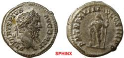 Ancient Coins - 126EM17) Septimius Severus. AD 193-211. AR Denarius (19 mm, 3.54 g). Rome mint. Struck AD 210. Laureate head right / Neptune standing left, leaning on raised right leg set on rock