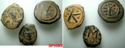 Ancient Coins - 303RR1) STUDY GROUP CONSISTING OF 3 BYZANTINE BRONZE FOLLIS, IN AVERAGE FINE+ / VF CONDITION. THIS IS AN EXCELLENT STUDY GROUP AND MAY INCLUDE SCARCE TO RARE COINS; PLEASE HAVE A L
