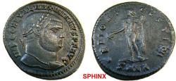 Ancient Coins - 767RF19) Galerius AE Follis (5.87 grms, 27 mm), 307-308 AD, Nicomedia. IMP C GAL VAL MAXIMIANVS PF AVG, laureate head right / GENIO AVGVSTI CMH, Genius standing left, modius on hea