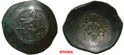 Ancient Coins - 37RM0Z) Isaac II Angelus. First reign, 1185-1195. BI Aspron Trachy (27 mm, 4.57 grms). Constantinople mint. The Theotokos seated facing on throne, holding head of Holy Infant on la