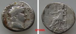 Ancient Coins - 228GG18) Nero. AD 54-68. AR Denarius (16 mm, 3.29 g). Rome mint. Struck circa AD 65-66. Laureate head right / Salus seated left on ornamented throne, holding patera. RIC I 60; aVF