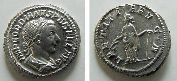 Ancient Coins - 7062RX) GORDIAN III, 238-244 AD, AR DENARIUS, RSC-120 , RIC-113, IN XF CONDITION, AND NICE TONE.