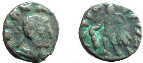 Ancient Coins - 489GREEK) Kushans Kujula Kadphises; AE 18mm 5.6g Bust right of Indo-greek King Hermaeus Rv., Heracles leaning on club, lion skin draped over arm. Celator, Apr.2000,pages 10,12; aF