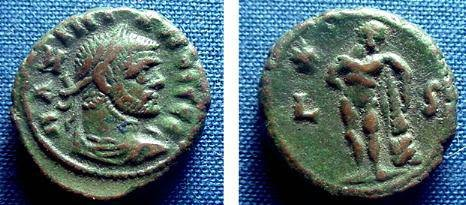 Ancient Coins - 451EB) ROMAN EGYPT, MAXIMIANUS, 286-305AD, AE POTIN TETRADRACHM, REV HERACLES STANDING RIGHT, CURTIS # 2082, MILNE 4976, VF WITH PLEASING BROWN GREEN TONING.