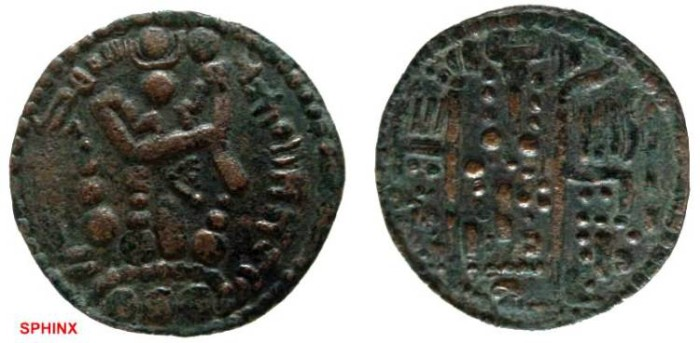 Ancient Coins - 312FG8) Arab-Bukharan. Abbasid caliph al-Mahdi. 775-785 AH. Billon dirham (26.5 mm, 2.75 g). Imitating drachms of the Sasanian king Varahran V (420-438). Album 94. Superb specimen