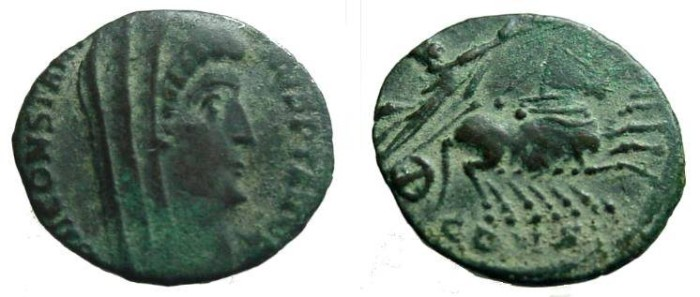 Ancient Coins - 1005RE) Divus Constantine I, AE4, 15mm, 1.32g September 9, 337-Spring 340, Regular Issues, Second Group, Constantinople, FINE+ Obv. DV CONSTANTI_NVS P T AVGG, Veiled head right, (N