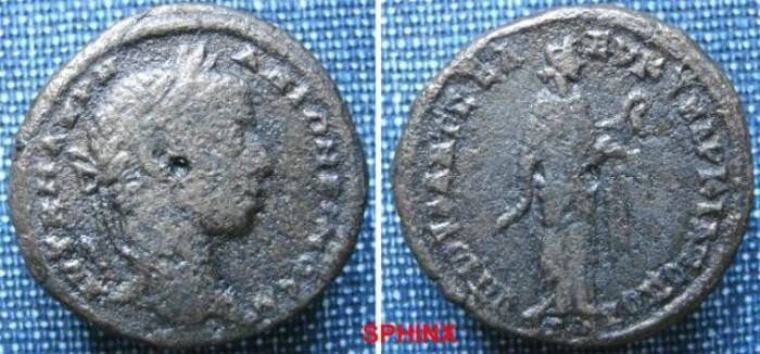 Ancient Coins - 460RM00) MOESIA INFERIOR, Marcianopolis. Elagabalus. AD 218-222. Æ 26.5 mm (8.76 g, 2h). Julius Antonius Seleucus, consular legate. Laureate head right / Hygeia standing right, VF,