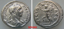 Ancient Coins - 449GG5) Severus Alexander. AD 222-235. AR Denarius (19 mm, 2.76 g). Rome mint. 5th emission, AD 225. Laureate and draped bust right / Victory running left, holding wreath and palm.