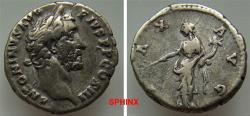 Ancient Coins - 86GC9X) Antoninus Pius. AD 138-161. AR Denarius (17 mm, 3.27 g). Rome mint. Laureate head right / Pax standing left, holding cornucopia, PAX AVG. RSC 588c. BMC 222 Handsome toning.