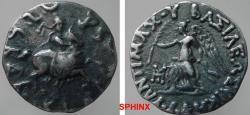 Ancient Coins - 456EG9) INDO-GREEK, ANTIMACHUS, 171-160 BV, BILINGUAL AR DRACHM, 16 MM, 2.46 GRAMS, MITCHINER MIG- 135a, CONTROL MARK OF PUSHKALAVATI CHIEF WORKSHOP. SUPERB VF, WITH DARK TONING.