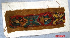 "Ancient Coins - 102COP) Medium sized pre-Columbian Peruvian "" Huary "" textile fragment w/ lovely vivid colours;"