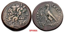 Ancient Coins - 186CRL0Z) PTOLEMAIC KINGS of EGYPT. Ptolemy IV Philopator. 222-205/4 BC. Æ Triobol (33.5mm, 35.90 g). Alexandreia mint. Series 5E. Diademed head of Zeus-Ammon right / Eagle with cl