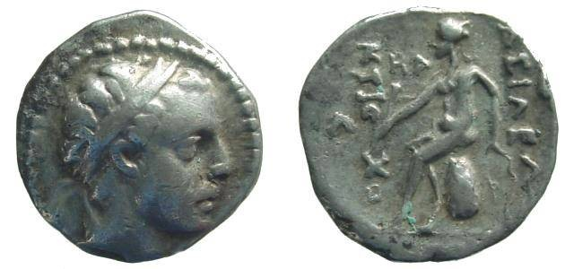Ancient Coins - 1196HR) SELEUKID KINGS OF SYRIA: ANTIOCHOS IV EPIPHANES. (175-164 BC.) AR Dr. ( 16 MM, 4.12 GRMS)  Diademed head right / BASILEWS ANTI-OCOU, Apollo seated nude left on omphalos, ho