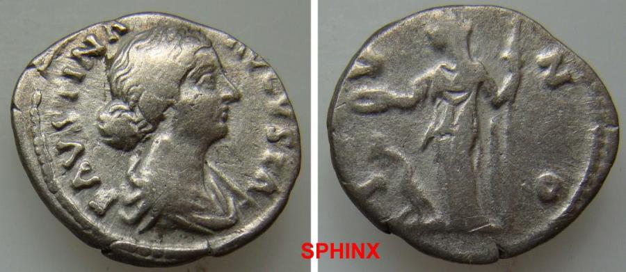 Ancient Coins - 77GC9X) Faustina Junior. Augusta, AD 147-175. AR Denarius (18 mm, 2.87 g). Rome mint. Struck under Marcus Aurelius, circa AD 170-175/6. Draped bust right, wearing stephane / Juno s