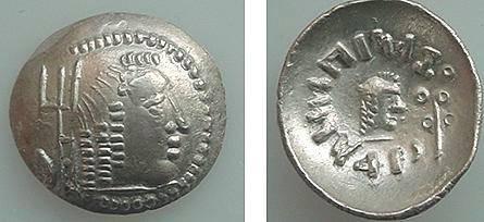 Ancient Coins - 189KR) ARABIA FELIX, AMDAN BAYYIN, SCYPHATE STYLE HALF AR DRACHM, MALE HEAD RIGHT, TRIDENT-LIKE MONOGRAM BEHIND, BEADED TORC AROUND; REV. SMALL MALE HEAD RIGHT, XF CONDITION.