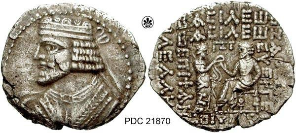 Ancient Coins - PDC21870 Vologases I (c. A.D. 51 - 78); Billon Tetradrachm; - Sellwood 68.4-8 (month off flan); 14.64 GRMS, 33 X 35 MM.