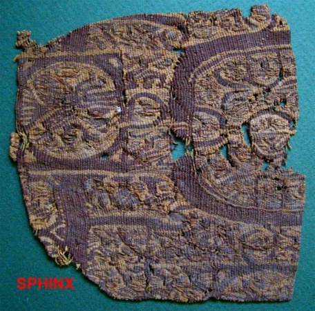 Ancient Coins - 23COP) MEDIUM SIZED COPTIC TEXTILE FRAGMENT WITH FOLIAGE AND VEGETATION
