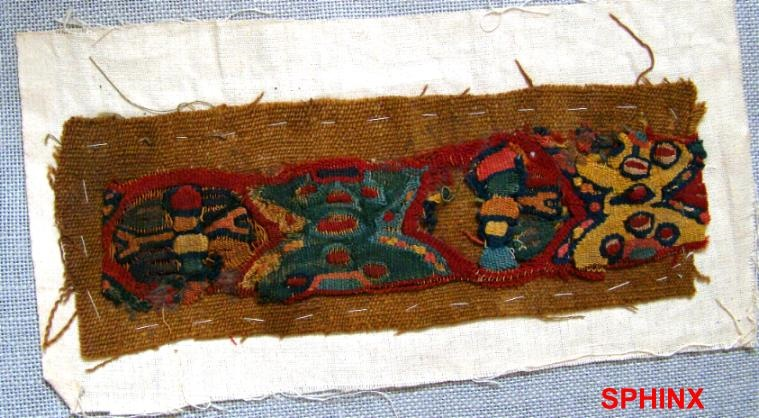 """Ancient Coins - 102COP) Medium sized pre-Columbian Peruvian """" Huary """" textile fragment w/ lovely vivid colours;"""
