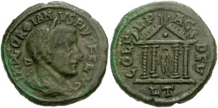 Ancient Coins - 306KB) THRACE, Deultum. Gordian III. AD 238-244. Æ 23mm (7.41 g). Laureate, draped and cuirassed bust right / COL F-L P-AC-DEV/LT, Apollo standing left, holding patera(?) and laure