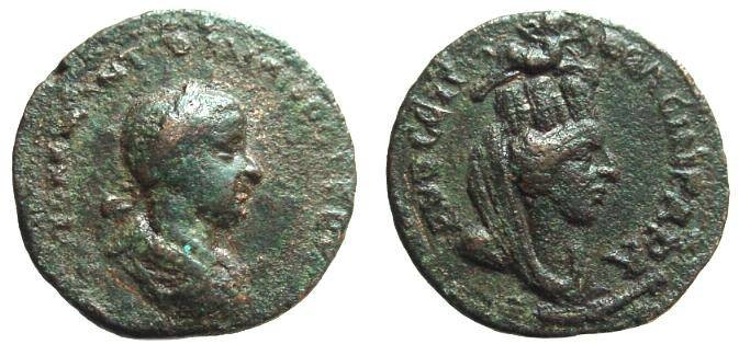 Ancient Coins - 85CK) MESOPOTAMIA, SINGARA, GORDIAN III, 238-244 AD, LARGE BRONZE, AE 26.5 MM, 15.09 GRMS, OBV. FINE, REV. VF.