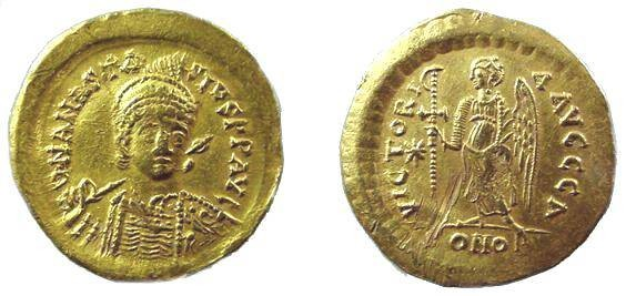 Ancient Coins - 504BYZ) ANASTASIUS I, 491-518 AD, GOLD SOLIDUS, CONSTANTINOPLE MINT, 4.46 GRAMS, VICTORIA REVERSE, STAR TO LEFT AND CONOB IN EXERGUE, RATTO 309,  NICE VF CONDITION.