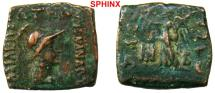 Ancient Coins - 901EB6) INDO-GREEKS OF BACTRIA, MENANDER I SOTER CIRCA 165 OR 155 TO 130 BC, AE 17 x 17 MM SQUARE 5.42 GRAMS, OBV. BUST OF KING RIGHT, REV NIKE STANDING LEFT, SNG ANS # 945ff, aVF