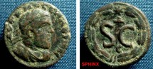 Ancient Coins - 826FG8) SYRIA, Seleucis and Pieria. Antioch. Macrinus, 217-218 AD, AE 19 mm, 4.4 grms, Obv. his laureate draped and cuirasse bust right, Rev. S.C. small Δ above and E below al