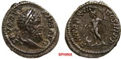 Ancient Coins - 267FR0Z) Septimius Severus. AD 193-211. AR Denarius (20 mm, 3.32 grms). Rome mint. Struck AD 205. Laureate head right / Jupiter standing facing, head left, holding thunderbolt and