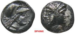 Ancient Coins - 111HB0Z) MYSIA, Lampsakos. 4th century BC. AR Diobol (12 mm, 1.45 g). Janiform female head, each wearing diadem / Helmeted head of Athena right. Baldwin, Lampsakos, Group B, Type I