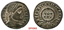 Ancient Coins - 764RF19) Constantine I AE follis (2.97 grms, 17.5 mm). 325-326 AD. CONSTANTINVS AVG, Laureate head right. / D N CONSTANTINI MAX AVG, VOT XXX in wreath. Mintmark: SMHΔ. RIC VII Hera
