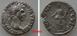 Ancient Coins - 243GG18) Nerva. AD 96-98. AR Denarius (17.5 mm, 3.36 g). Rome mint. Struck AD 97. Laureate head right / Fortuna standing left,   holding rudder and cornucopia. RIC II 16; RSC 66.