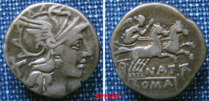 Ancient Coins - 5HM0) Pinarius Natta. 149 BC. AR Denarius (3.76 gm, 11h). Rome mint. Helmeted head of Roma right; X (mark of value) behind / Victory in galloping biga right, holding whip and reins