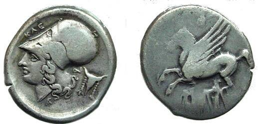 Ancient Coins - 1148CRB) Corinth, Acarnania : Anactorium, AR stater, 8.42 grams, 20x22 mm, struck circa 300-250 BC, Obv: Pegasus, with pointed wing, flying left, Rev: Head of Athena facing left, w