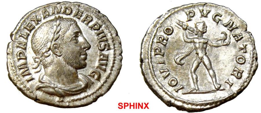 Ancient Coins - 125EM17) Severus Alexander. AD 222-235. AR Denarius (19.5 mm, 3.36 g, 6h). Rome mint. 15th emission, AD 232. Laureate, draped, and cuirassed bust right, wearing slight beard / EF