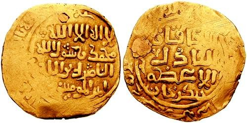 Ancient Coins - MONGOLS. Chingiz (Genghis) Khan. AV Dinar (23mm, 5.18 gm). Ghazna mint. Struck circa AH 618 (1221/1222 AD).