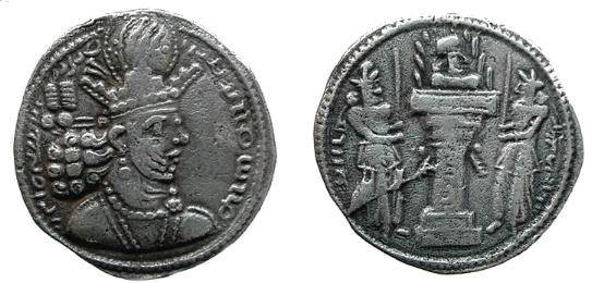Ancient Coins - 936GH) SASANIAN KINGS of PERSIA. Shahpur II. 309-379 AD. AR Drachm (22.5 mm, 3.86 gm). Western (Aspahan?) mint. Crowned and cuirassed bust right /  VF and nicely toned.