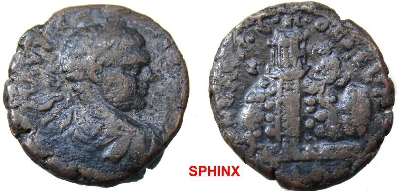 Ancient Coins - 584HM3) Neapolis, Samaria, Elagabalus, 218-222 AD, AE 20 mm, 7.22 grms, Rev. Temple on Mnt Gerizim, BMC 100v, Fine cond.