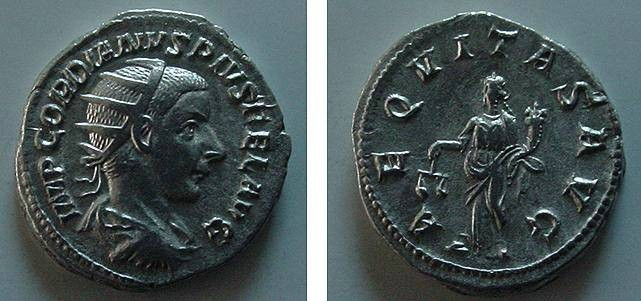 Ancient Coins - 234GRX) GORDIAN III, 238-244 AD, AR ANTONINIANUS, RSC-17 , RIC-34 IN XF CONDITION, AND NICE TONE.