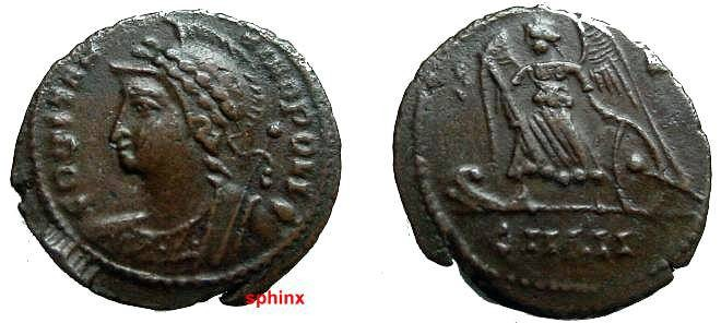 Ancient Coins - 828GM) Anonymous Issue during the reign of Constantine I, AE4, 336-337 AD, Thessalonica, 17 mm, 1.78 grms, Officina 5, CONSTAN_TINOPOLIS, Laureate, helmeted bust of Constantinople