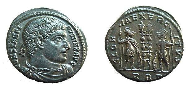Ancient Coins - 595ROM) Constantine I, 306-337 AD, AE 3;; 17 mm, 2.68 grms; OBV.: Laureate Constantine II facing right, CONSTANTINVS MAX AVG. REVERSE: Two standards between two facing soldiers, GL